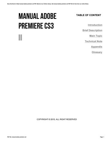 Adobe Premiere Cs3 Tutorial Pdf