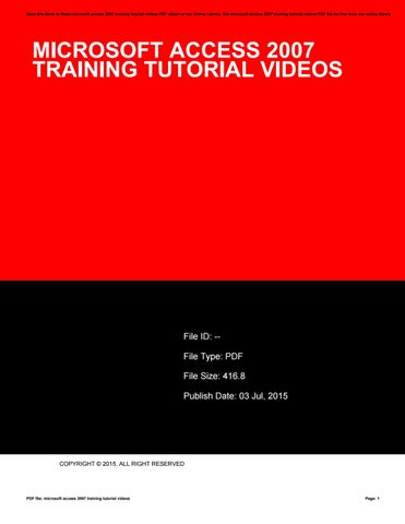 Ms Access 2007 Tutorial Ebook