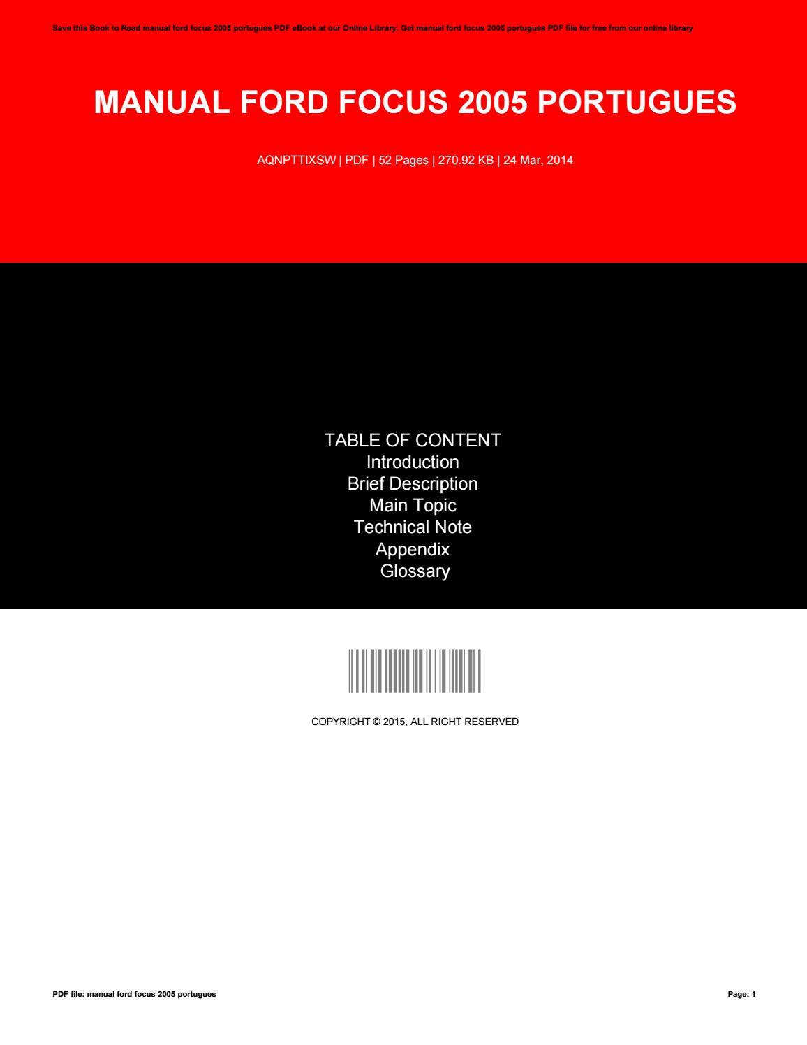 ford focus 2005 manual pdf