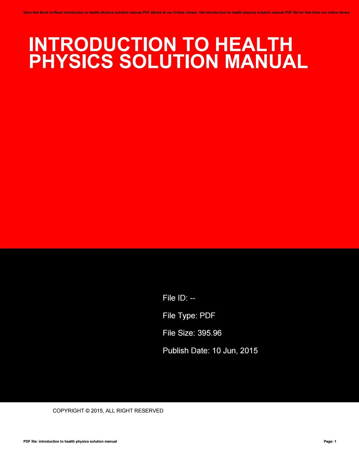 Introduction to health physics solution manual by ElizabethJohnson19891 -  issuu