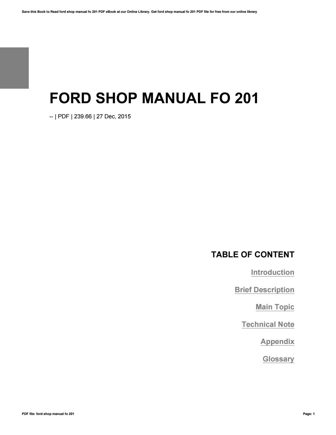 ford shop manuals free