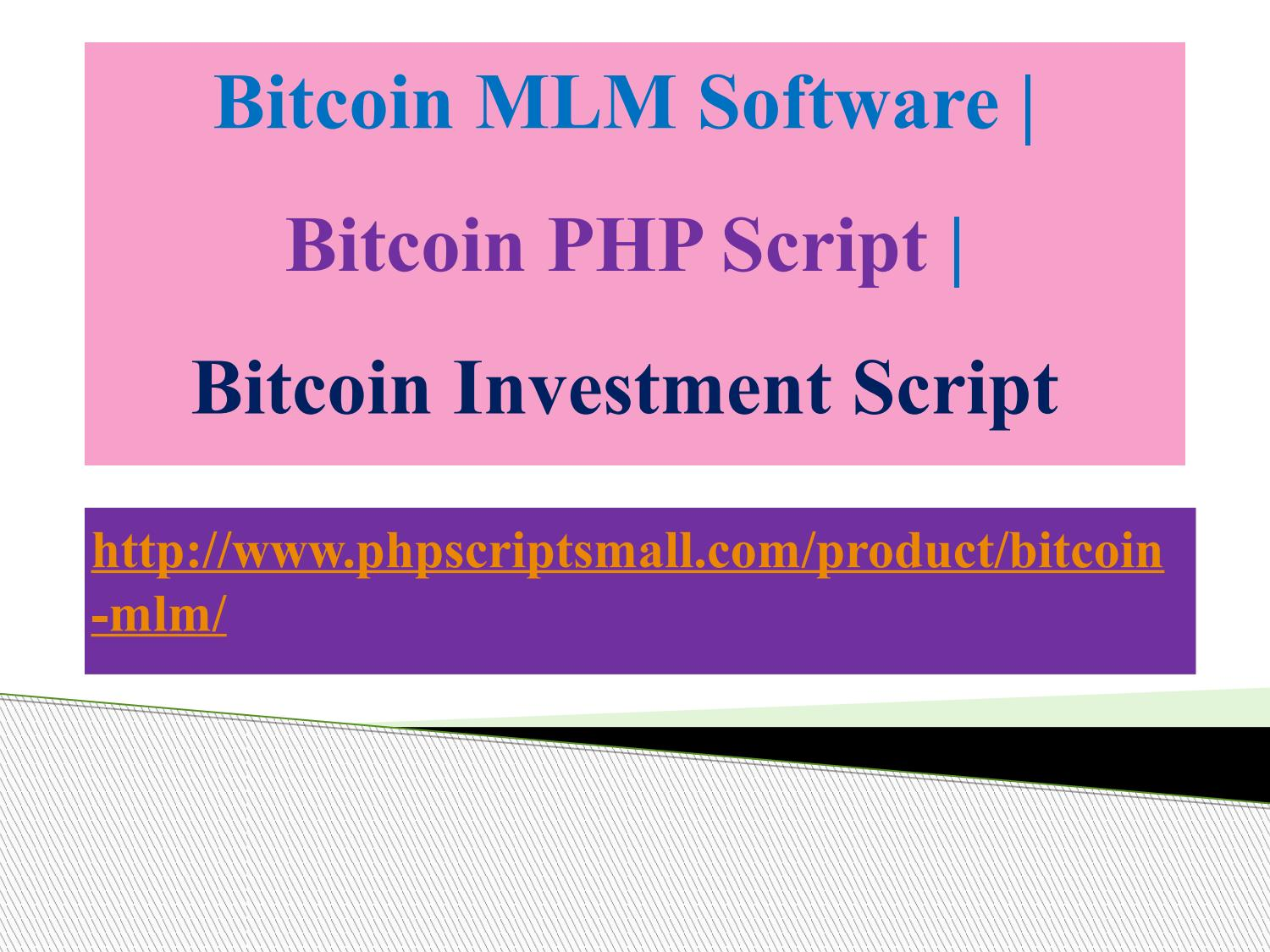Bitcoin investment script php