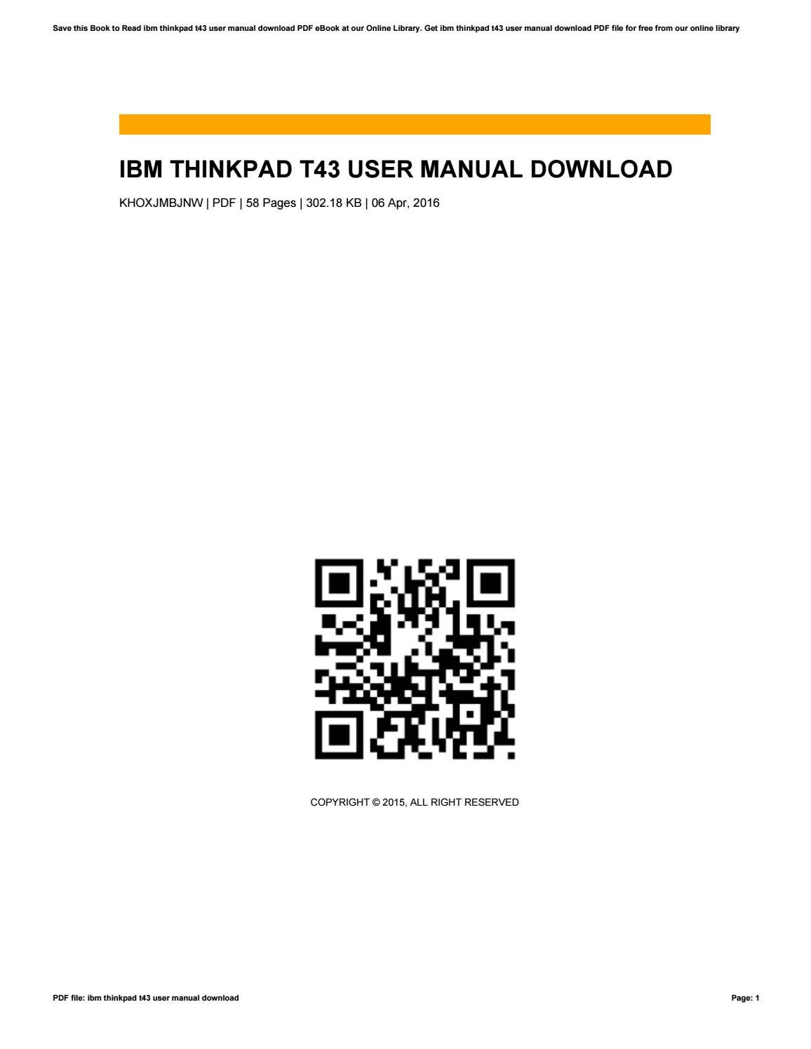 Ibm thinkpad t43 user manual download by marni38kumala issuu.