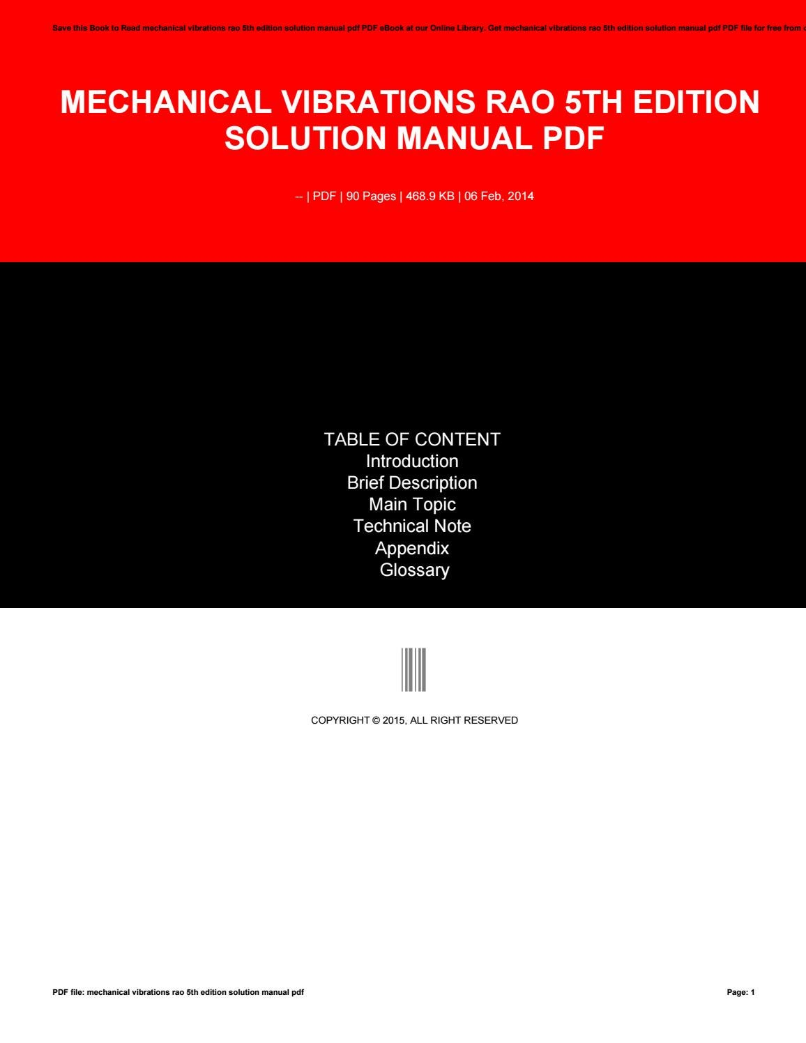 Mechanical vibrations rao 5th edition solution manual pdf by  MaryEdwards1696 - issuu