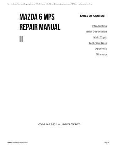 mazda 6 mps repair manual by matthewmusgrove3302 issuu rh issuu com Locate Mazda CX-5 in Latch Mazda Auto Repair Manual