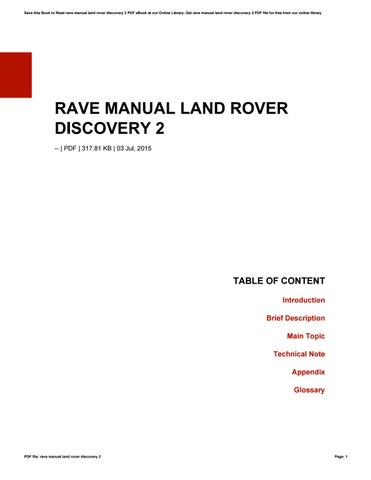 rave manual land rover discovery 2 by ruthtownsend3772 issuu rh issuu com Discovery 3 Discovery 5