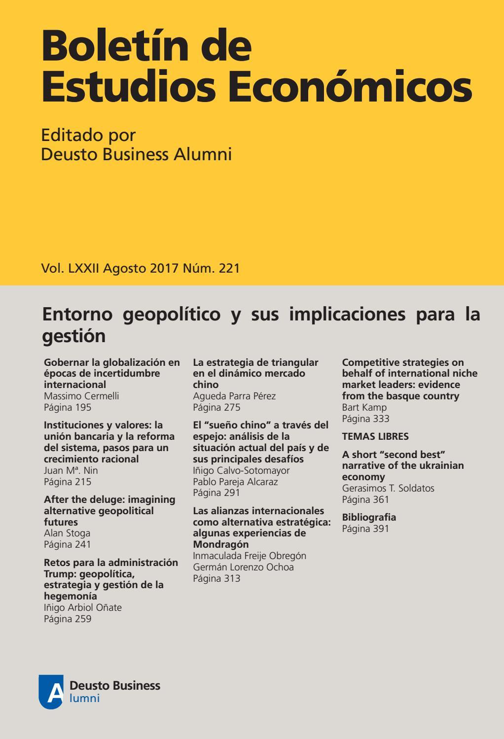 afb63e11c Boletín de Estudios Económicos. Agosto 2017. Num. 221 by Deusto ...