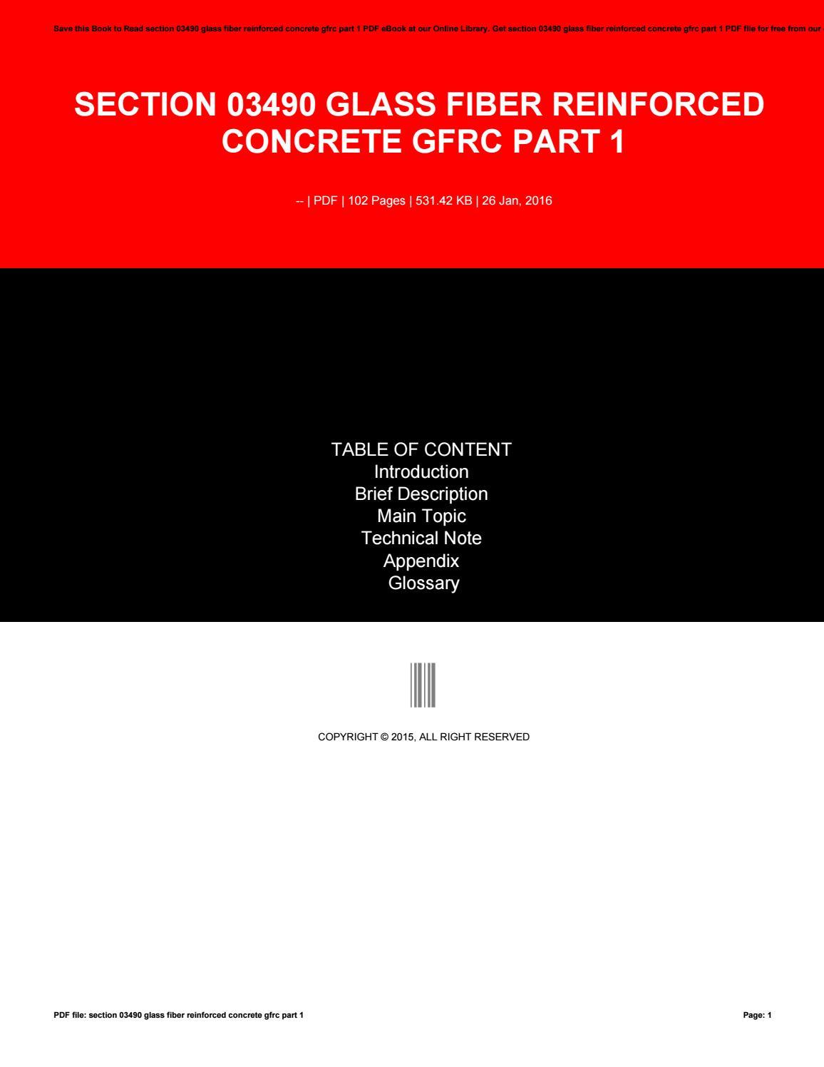 Section 03490 glass fiber reinforced concrete gfrc part 1 ...