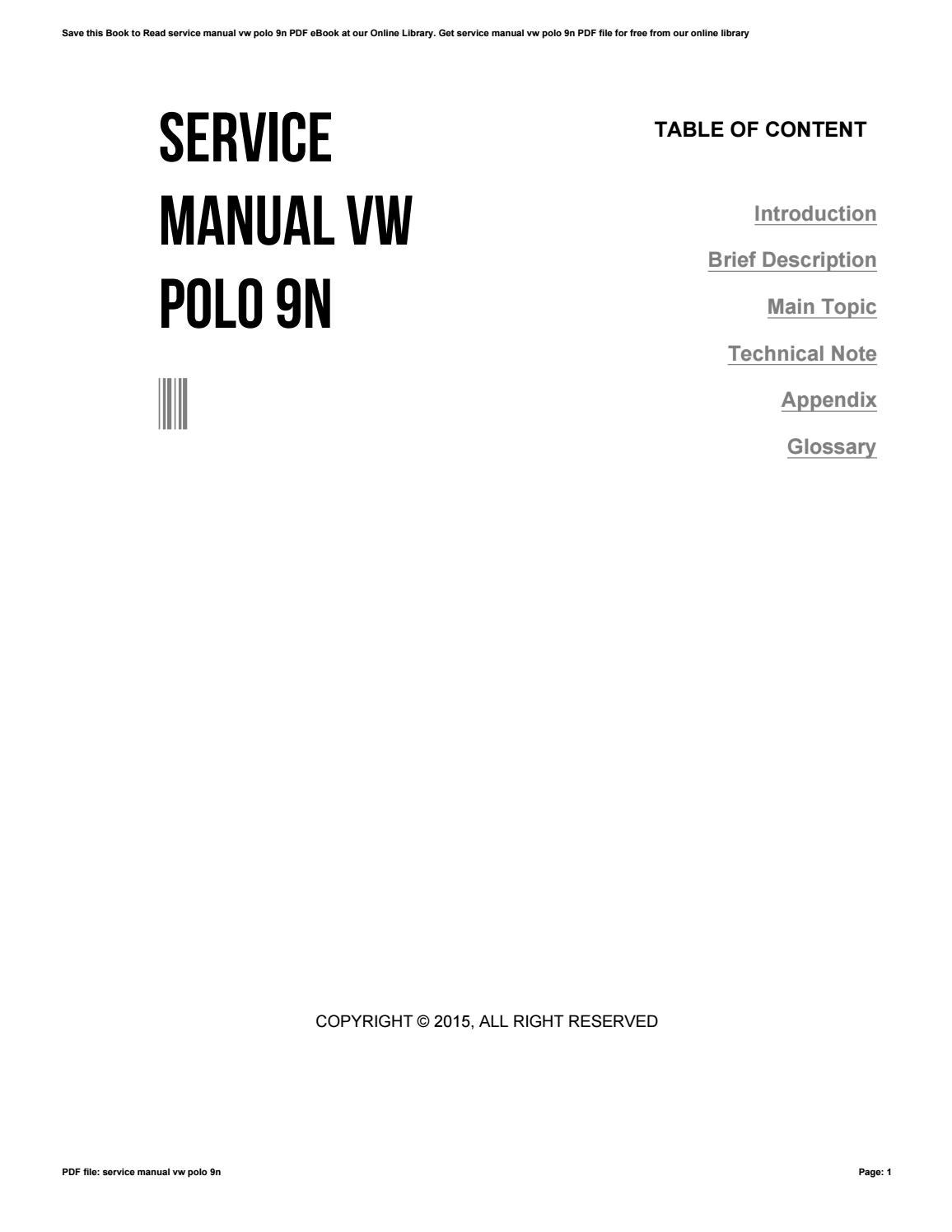 Service Manual Vw Polo 9n By Richardhill2285