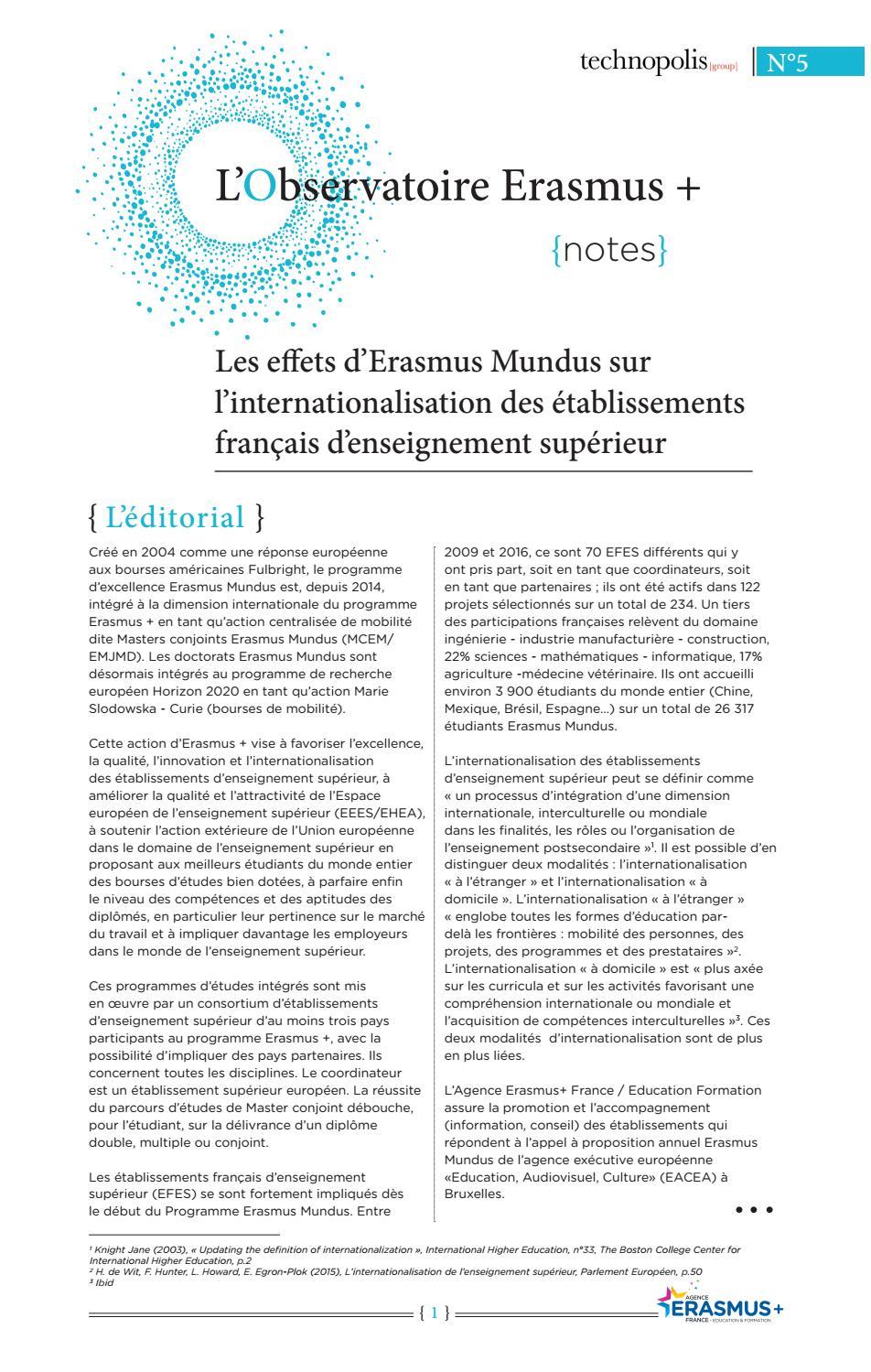 L Observatoire Erasmus Numéro 5 By Agence Erasmus