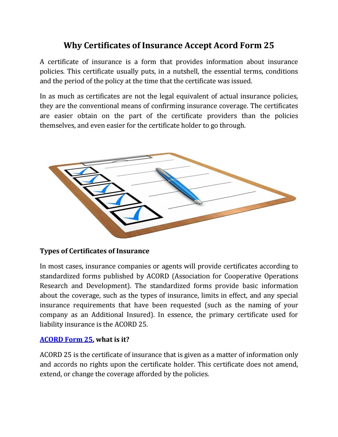 Why Certificates of Insurance Accept Acord Form 25 by JDICTRAX - issuu