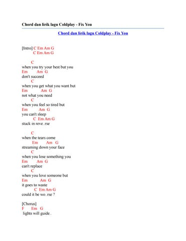 Chord Dan Lirik Lagu Coldplay Fix You By Chord Zila Issuu