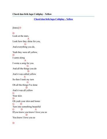 Chord Dan Lirik Lagu Coldplay Yellow By Chord Zila Issuu
