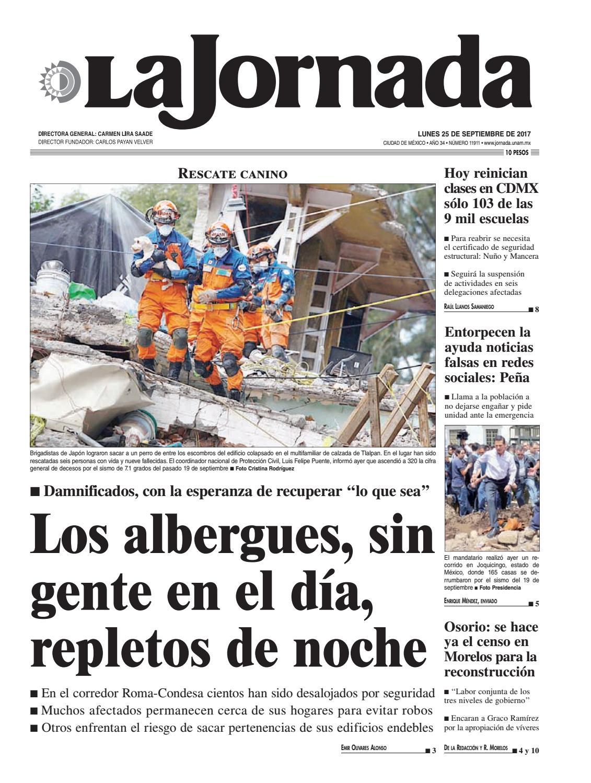 La Jornada, 09/25/2017 by La Jornada: DEMOS Desarrollo de Medios SA de CV -  issuu