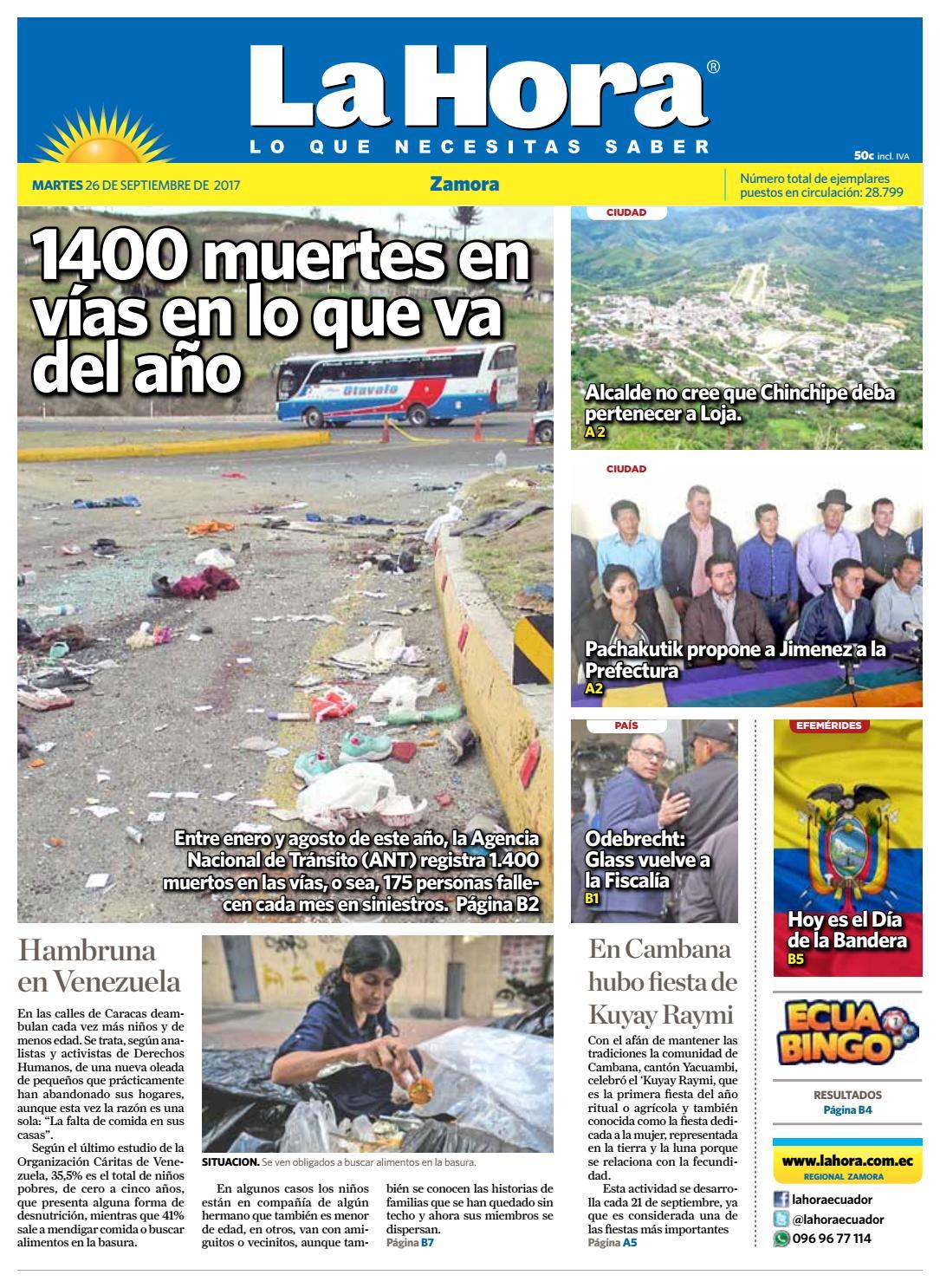 Diario La Hora Zamora 26 De Septiembre 2017 By Diario La Hora  # Muebles Hijos De Rafael Bandera Vivar