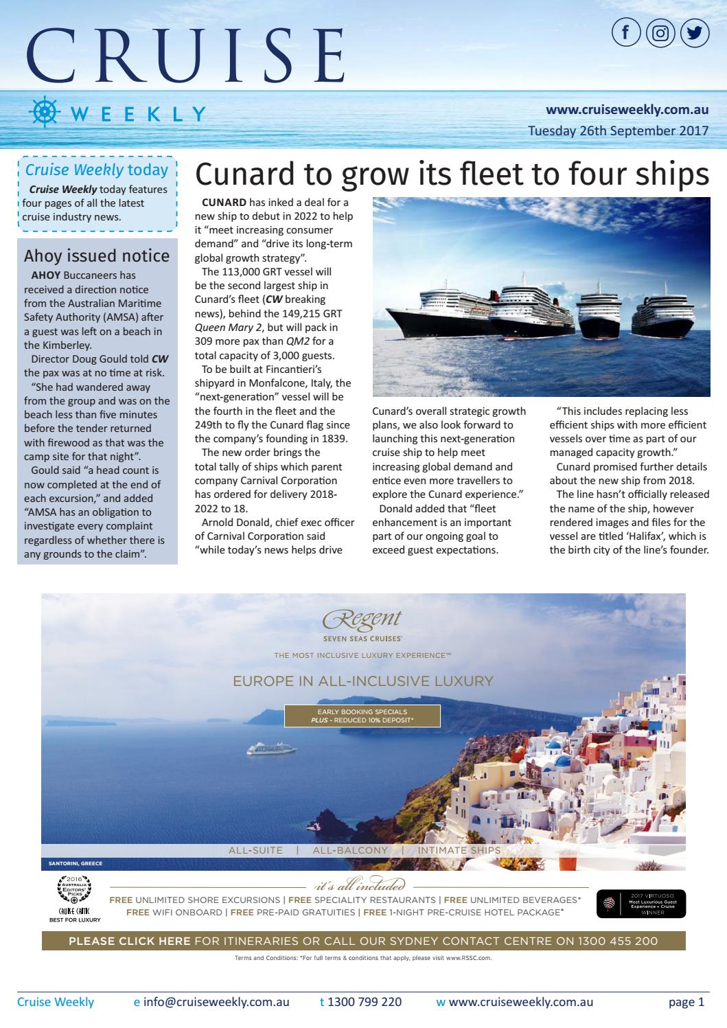 CW for Tue 26 Sep 2017 - Cunard orders fourth ship, Princess Cruises