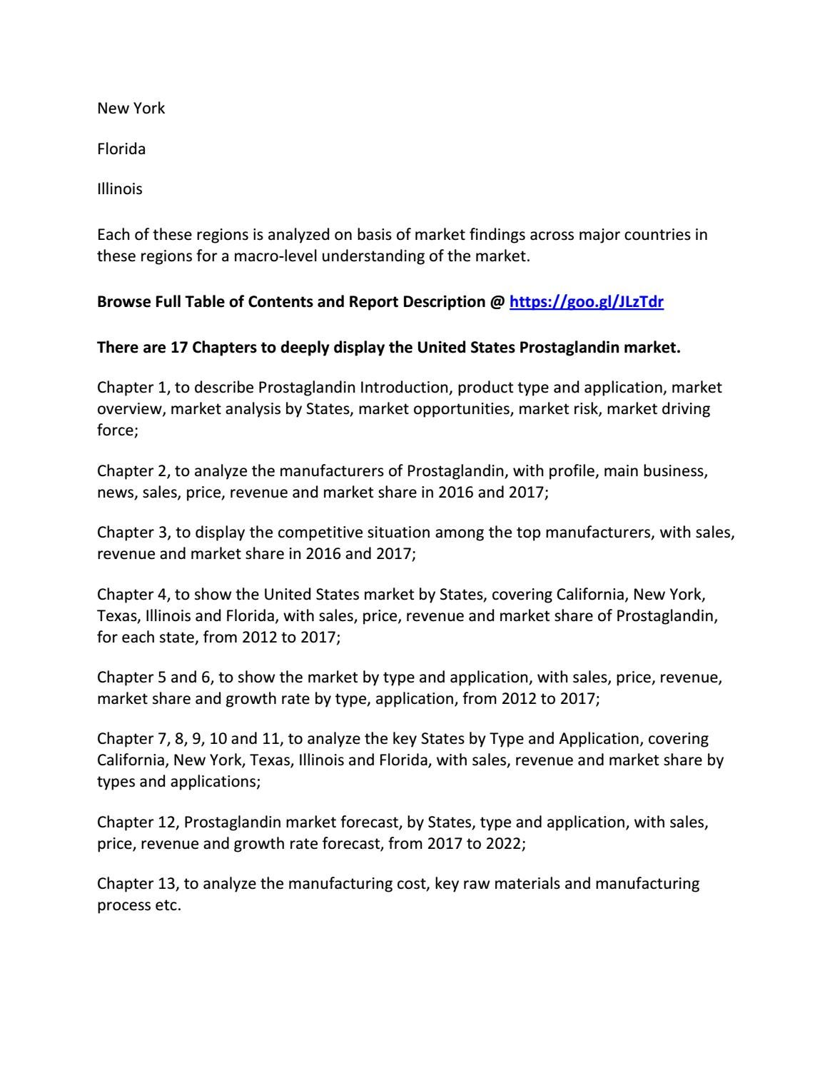 United States Prostaglandin Market 2017
