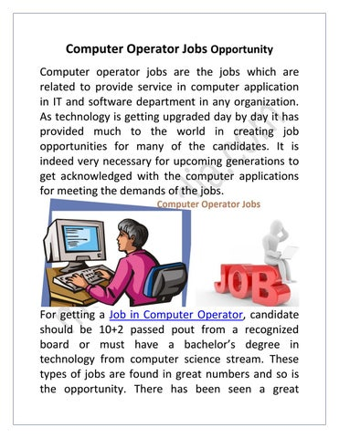 Computer Operator Jobs By Career