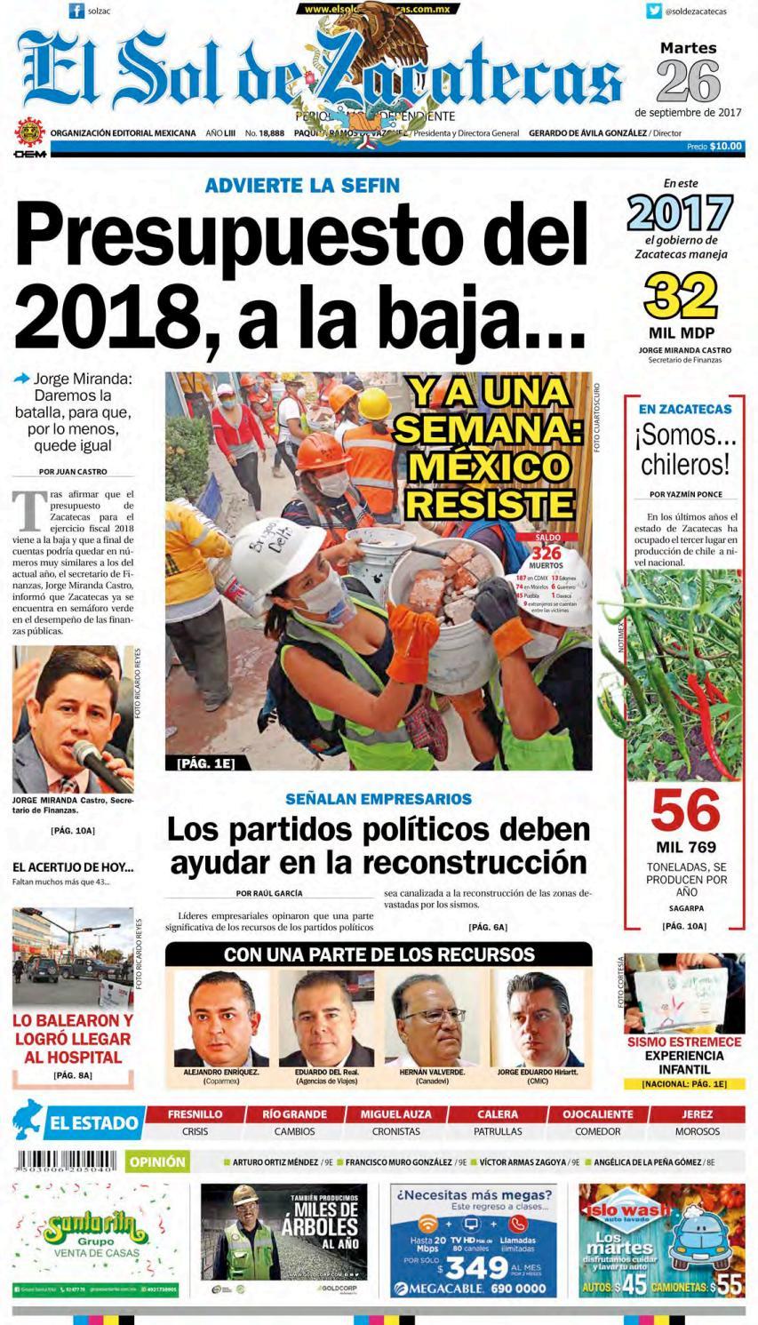 El Sol De Zacatecas 26 De Septiembre 2017 By El Sol De Zacatecas  # Muebles Goitia Tijuana