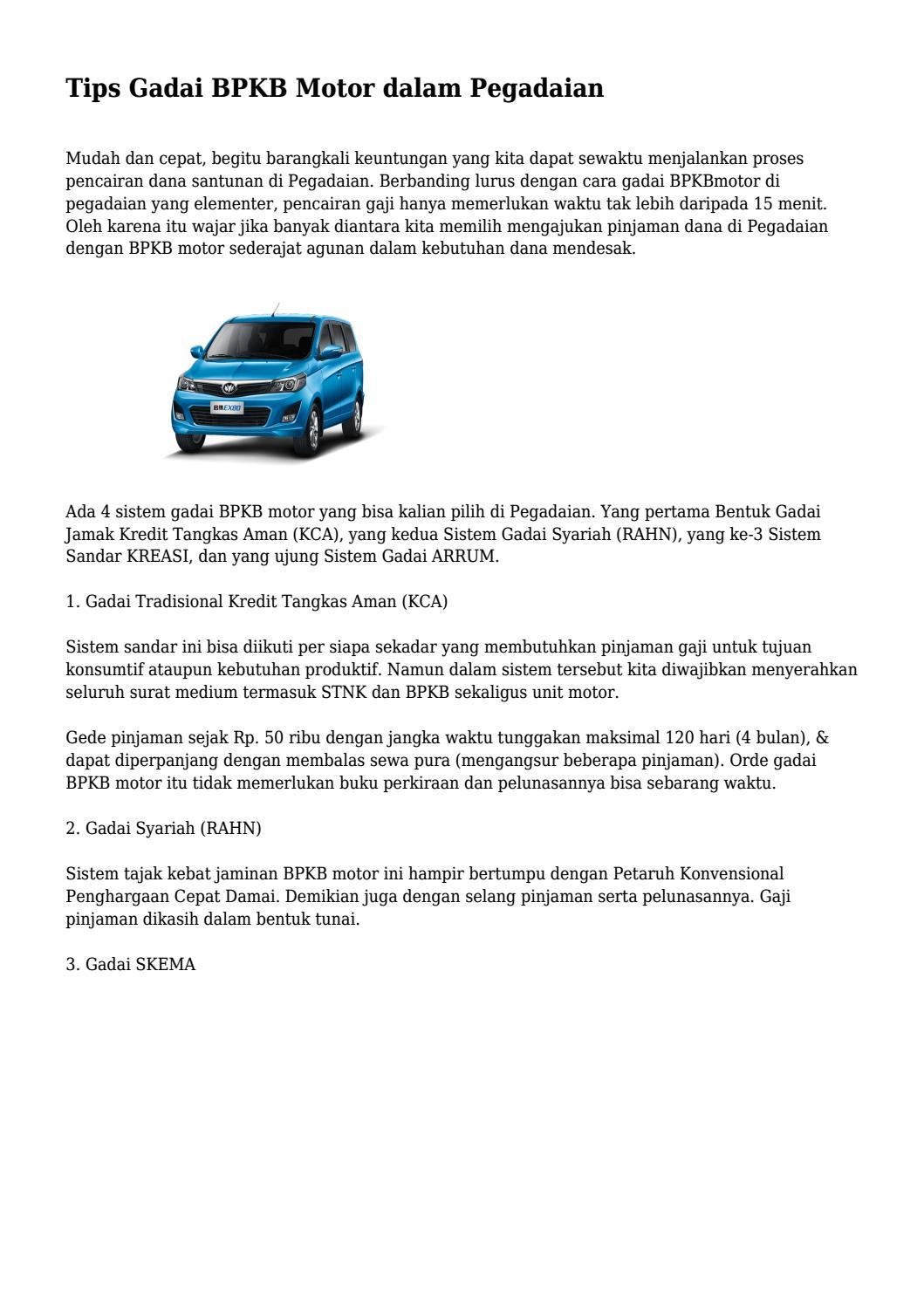 Pinjam Uang Di Pegadaian Dengan Jaminan Bpkb Motor - Tips ...