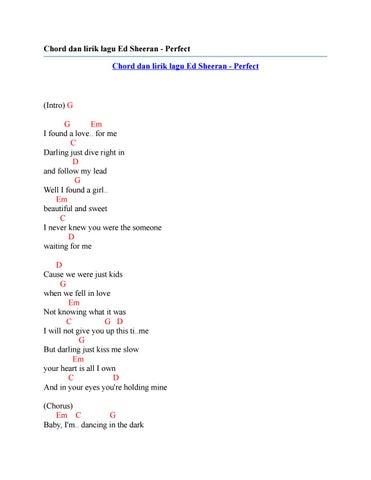 Chord dan lirik lagu ed sheeran perfect by Chord Zila - issuu