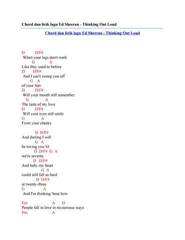 Chord dan lirik lagu ed sheeran thinking out loud by Chord Zila - issuu
