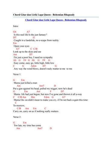 Chord gitar dan lirik lagu queen bohemian rhapsody by Chord Zila - issuu