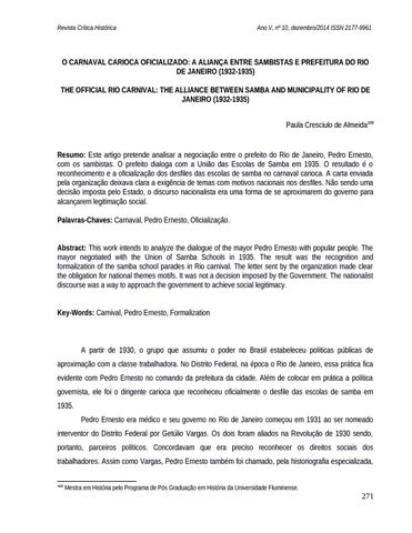 1bbd6524b0 O Carnaval carioca oficializado  a aliança entre sambistas e ...