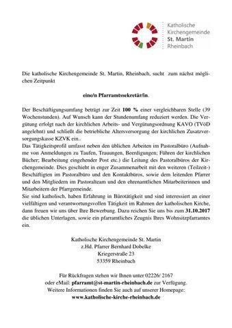 Ausschreibung Sekretariat By Katholische Kirchengemeinde St Martin Rheinbach Issuu