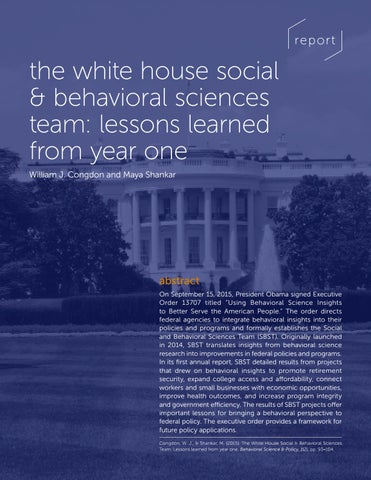 The White House social & behavioral sciences team: Lessons learned