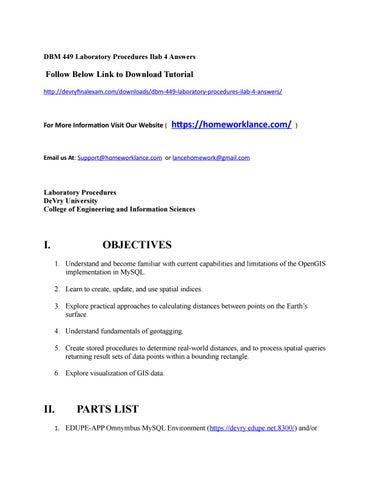 Dbm 449 laboratory procedures ilab 4 answers by DonaldPowers
