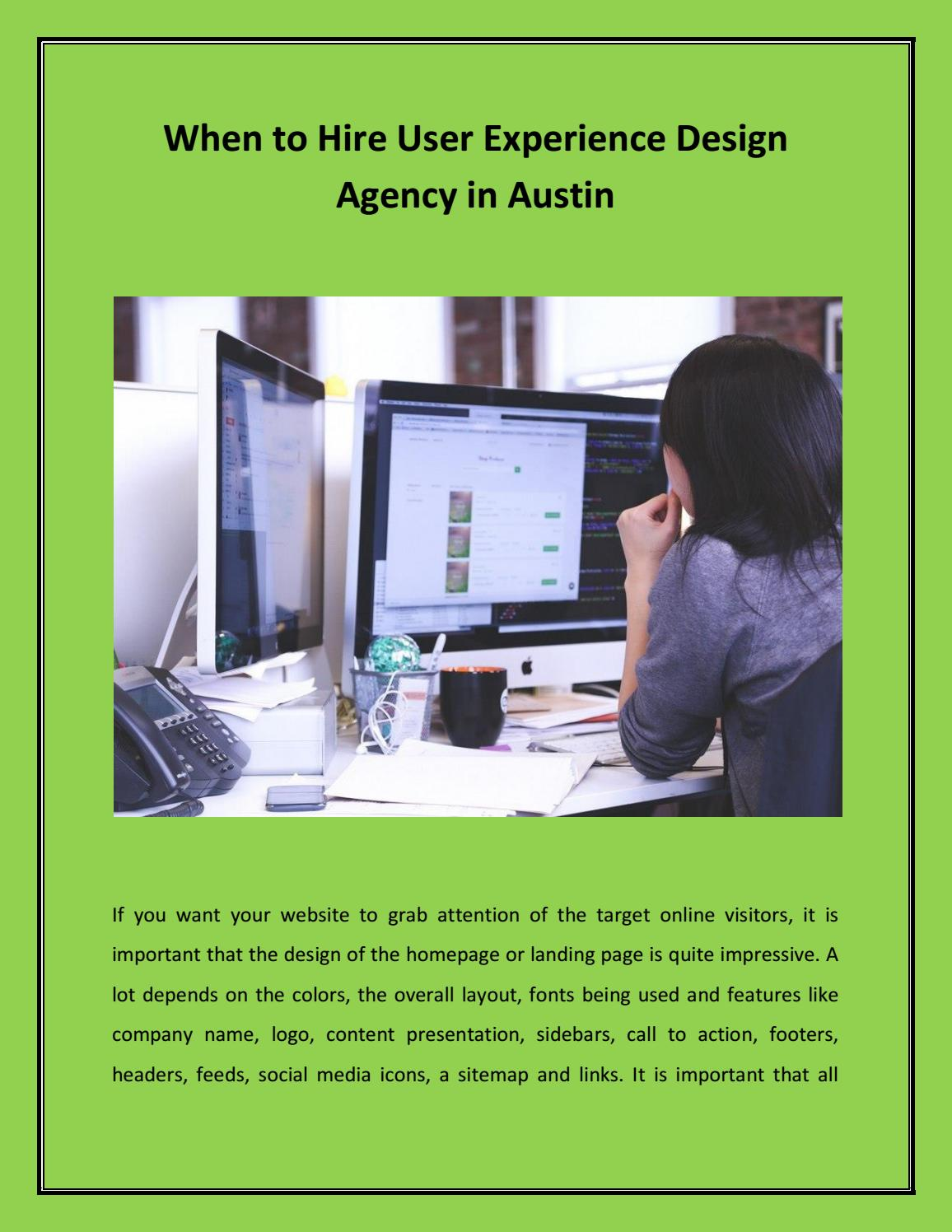 When To Hire User Experience Design Agency In Austin By Iiimpact Design Issuu