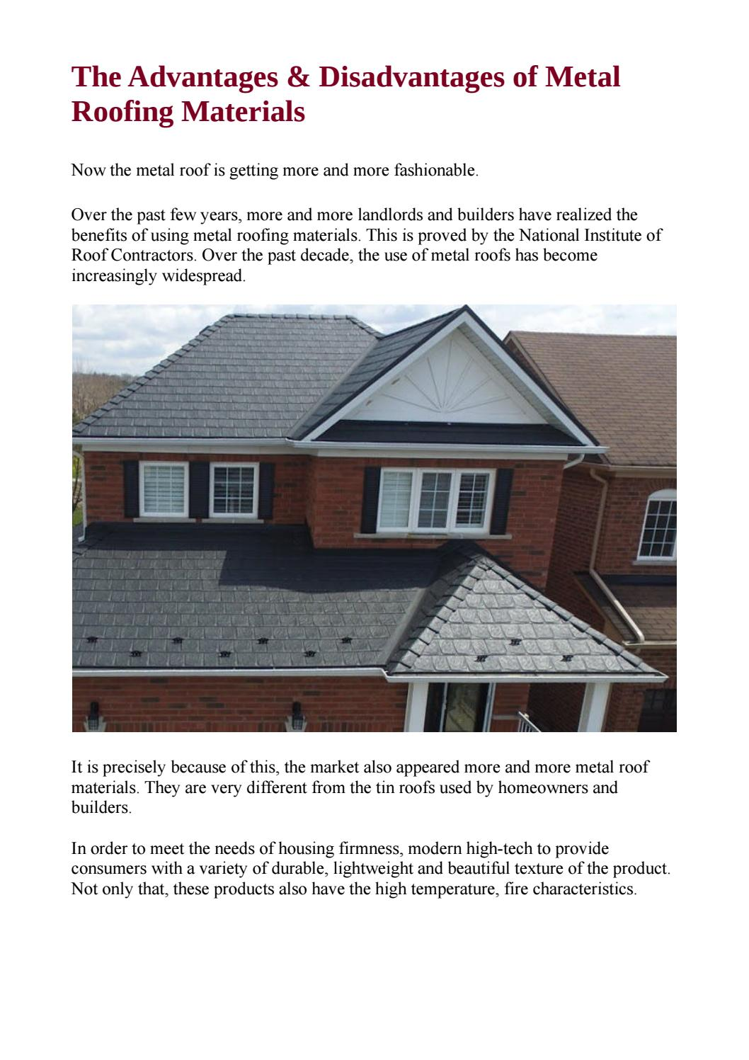 The advantages disadvantages of metal roofing materials by armadura metal roof issuu