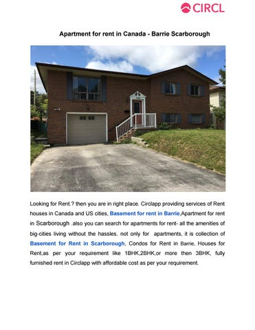 Basement For Rent Scarborough apartment for rent in canada barrie scarboroughcirclappcl - issuu