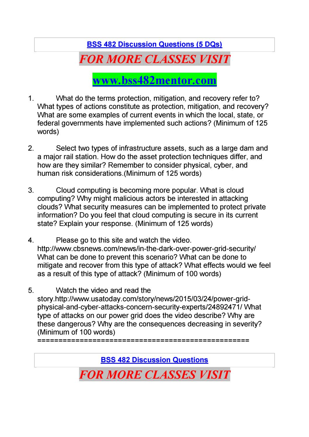 Bss 482 Discussion Questions 5 Dqs By Sreeja99 Issuu