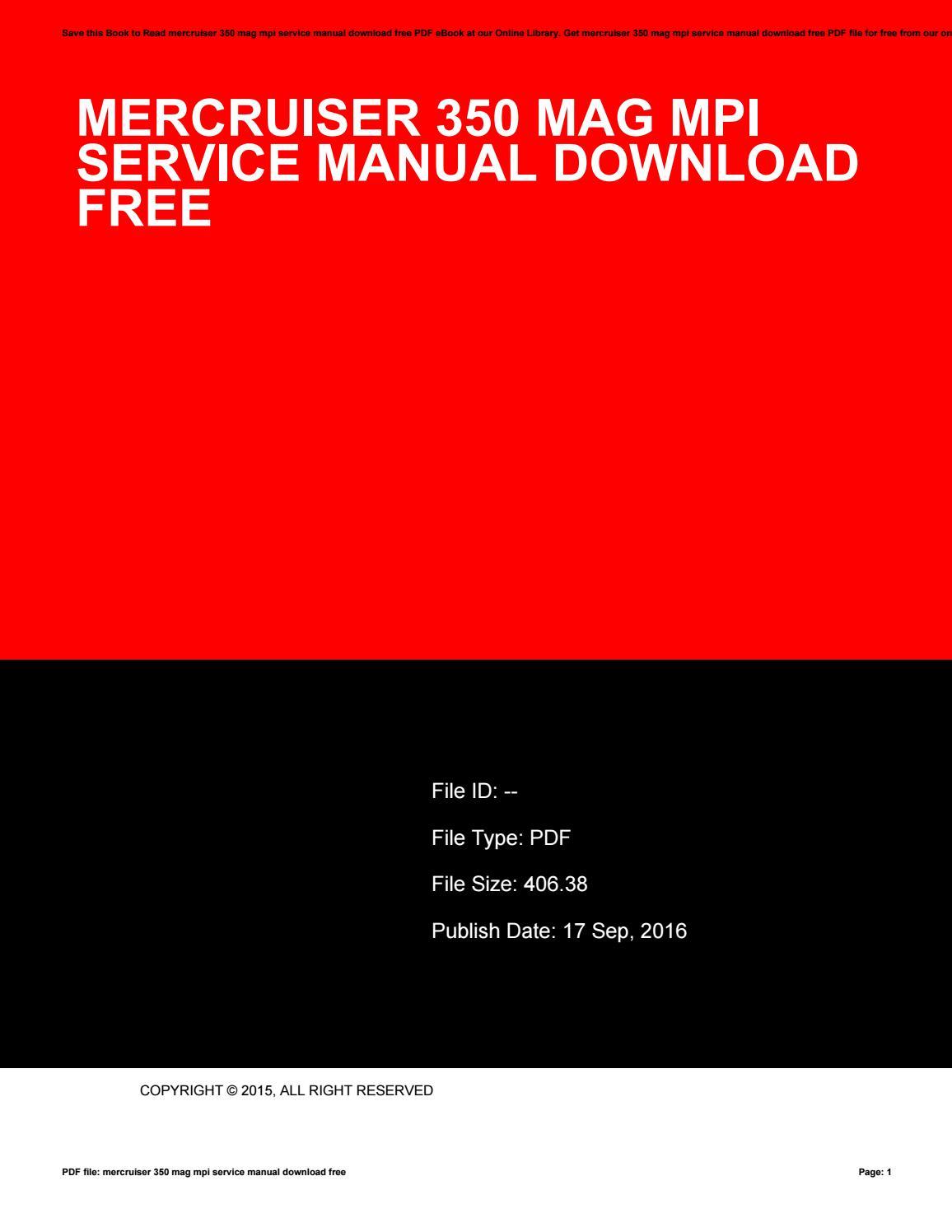 Mercruiser 350 mag mpi service manual download free by tania97kshua - issuu