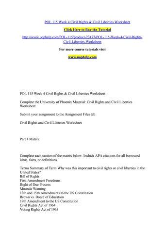 Pol 115 Week 4 Civil Rights Civil Liberties Worksheet By