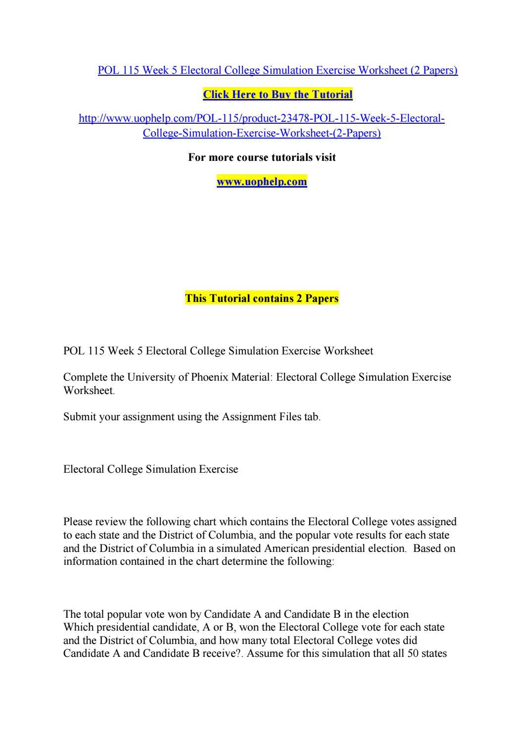 worksheet Electoral College Worksheet pol 115 week 5 electoral college simulation exercise worksheet 2 papers by bluebell927 issuu