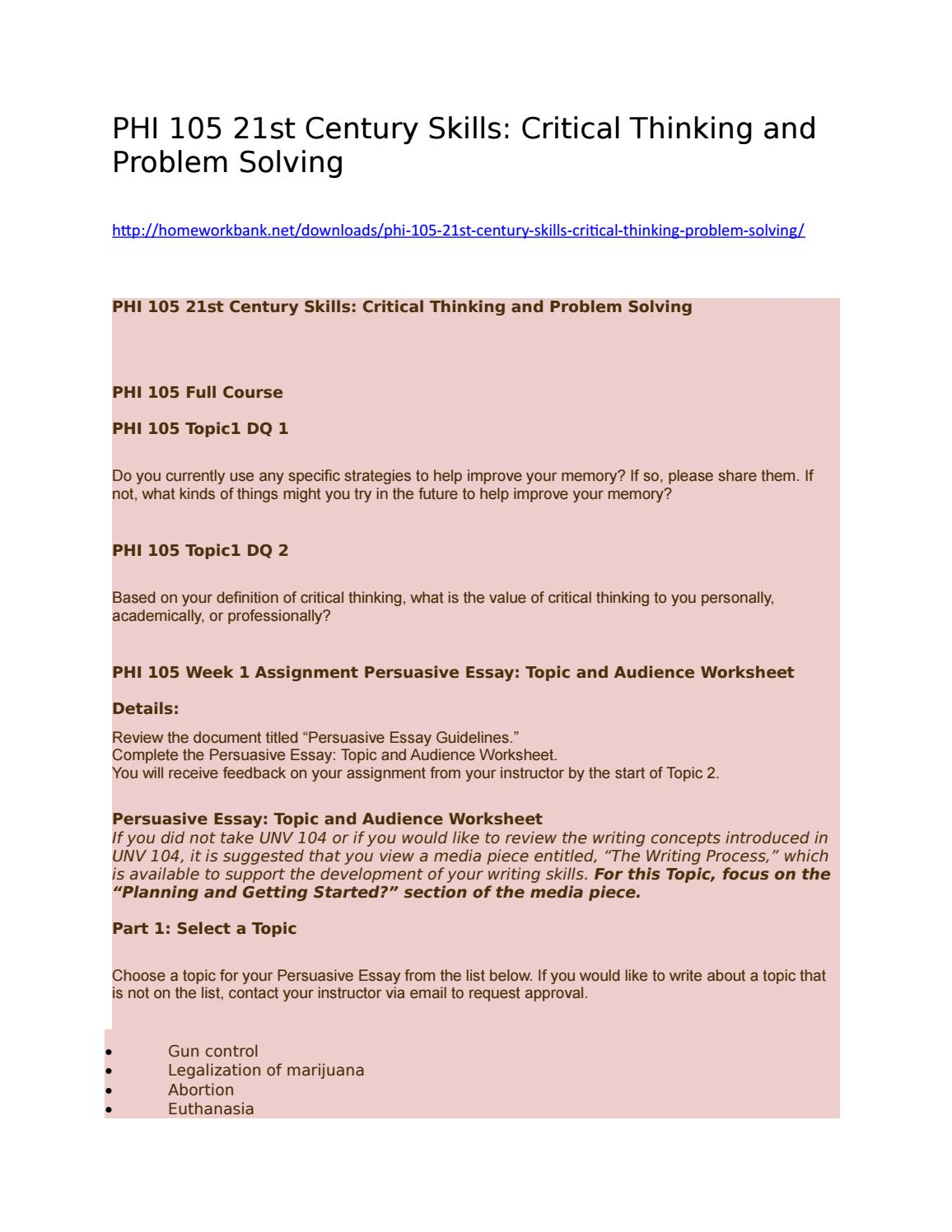 phi-105 21st century skills critical thinking and problem solving