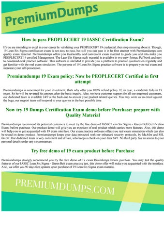 ae3a9bb42d5 PEOPLECERT 19 IASSC Lean Six Sigma - Green Belt Exam Questions