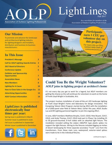 aolp lightlines 2017 fall issue by association of outdoor lighting