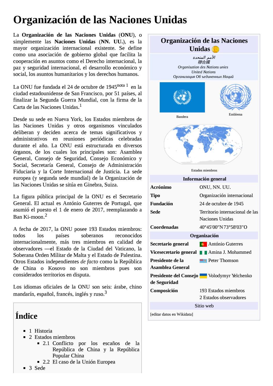 Organización de las naciones unidas by Agustina Haquin - issuu
