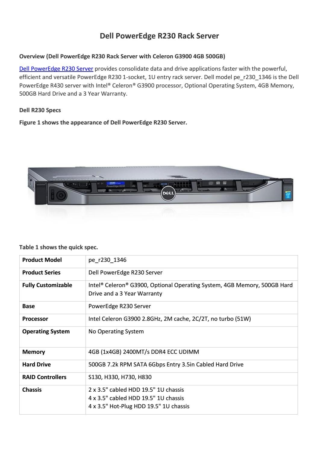 Dell poweredge r230 rack server overview by Router Switch - issuu