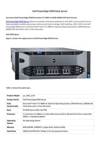 Dell poweredge r930 rack server overview by Router Switch - issuu