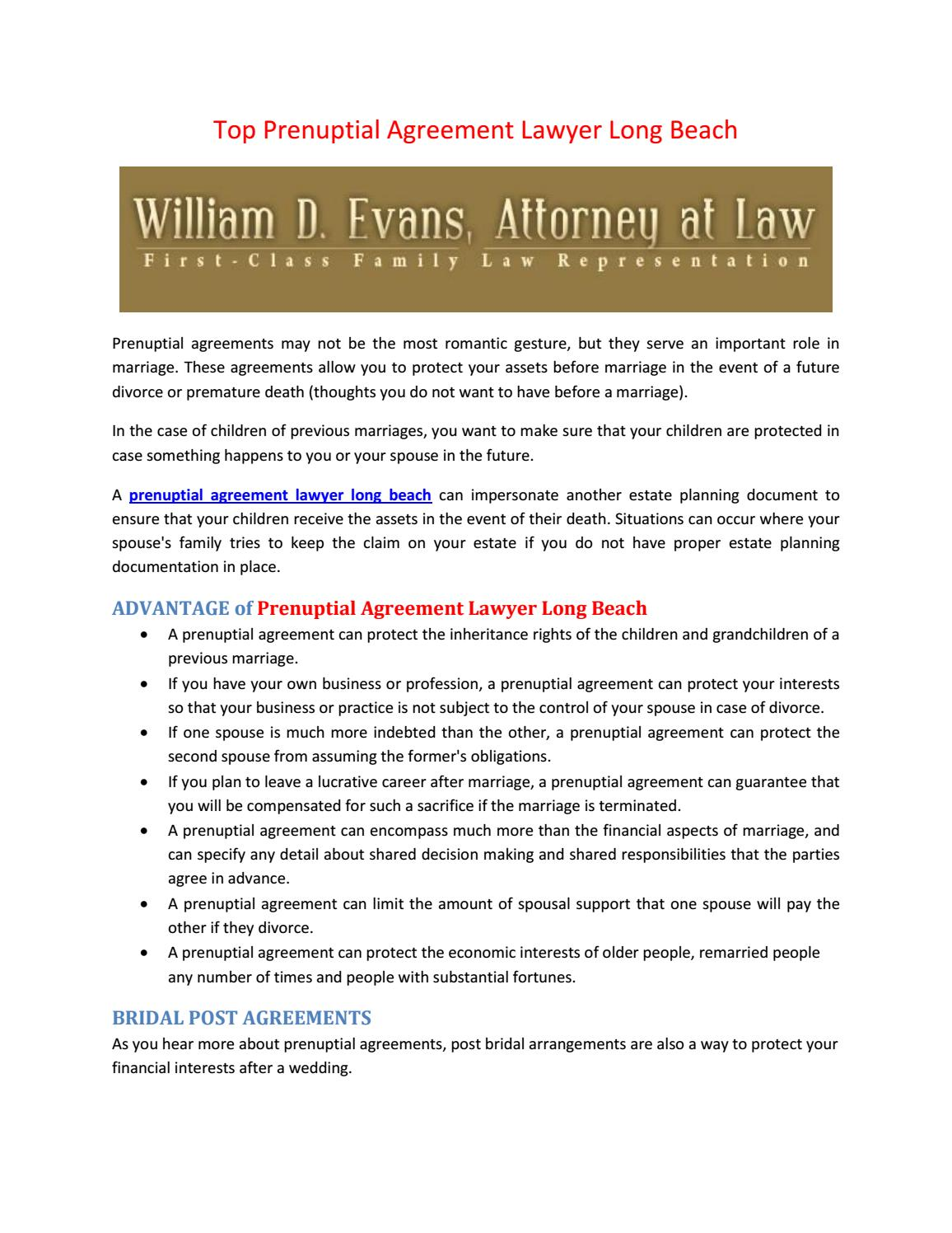 Top Prenuptial Agreement Lawyer Long Beach By Family Law Issuu