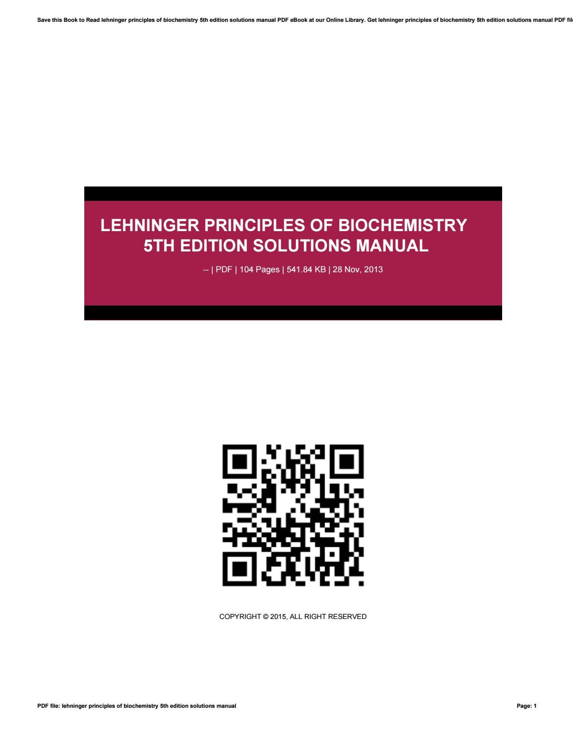 Lehninger principles of biochemistry 5th edition solutions manual by  elie31taman - issuu