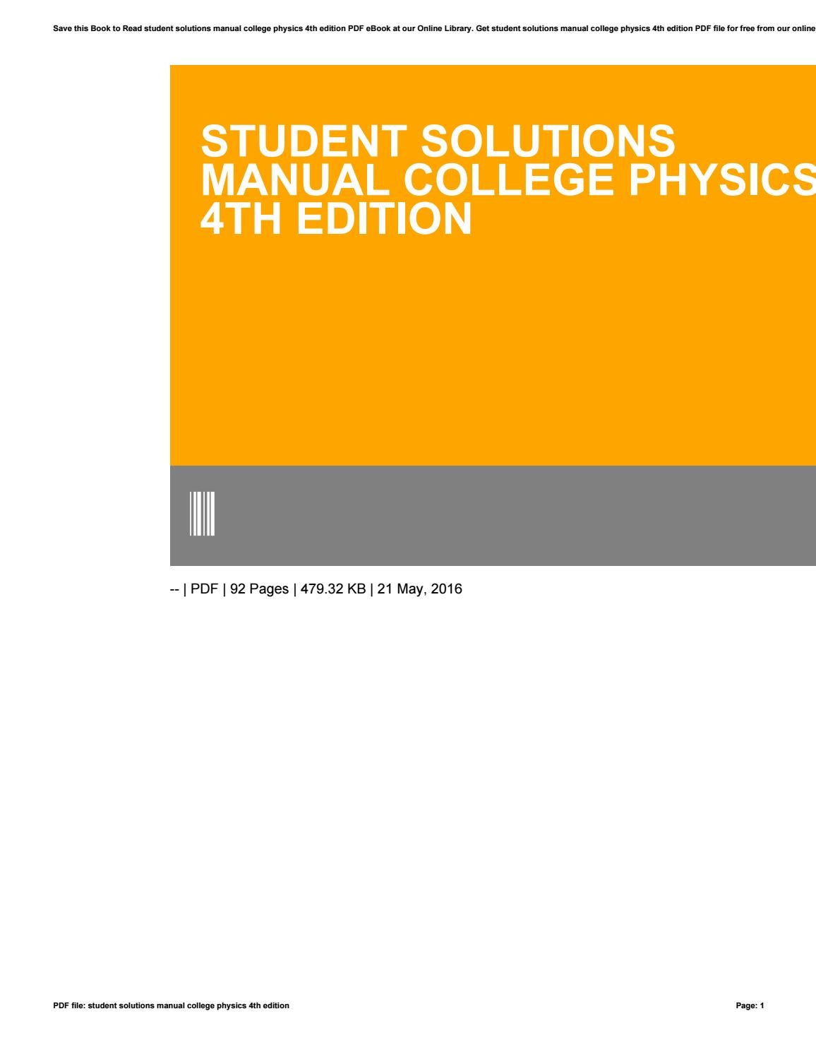 Student solutions manual college physics 4th edition by elie31taman - issuu