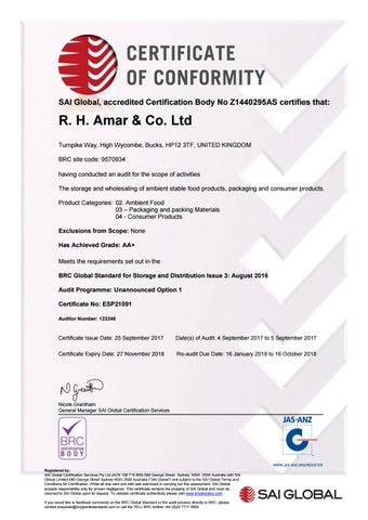 BRC Global Standard for Storage and Distribution Issue 3 by RHAMAR