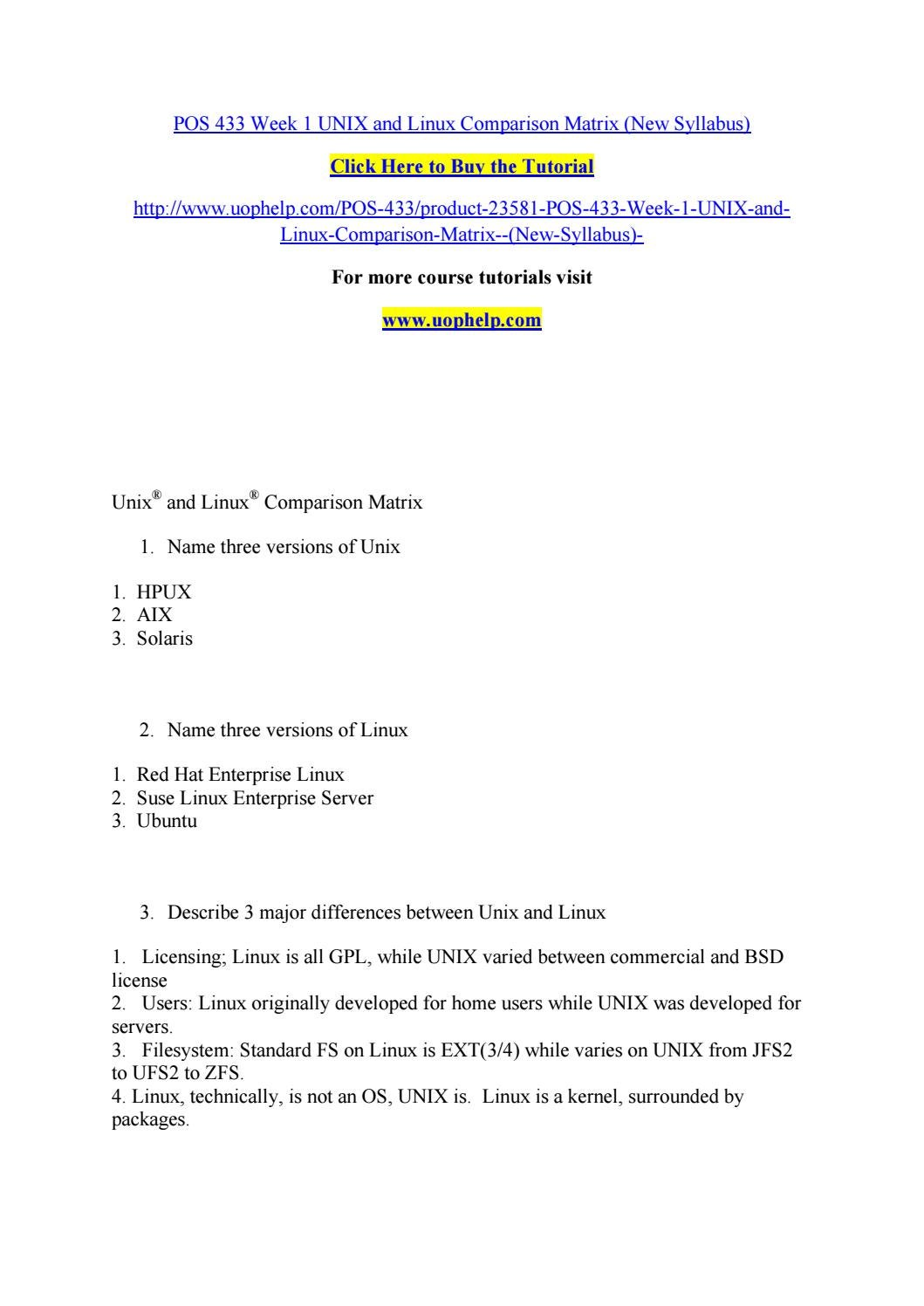 Pos 433 week 1 unix and linux comparison matrix (new syllabus) by