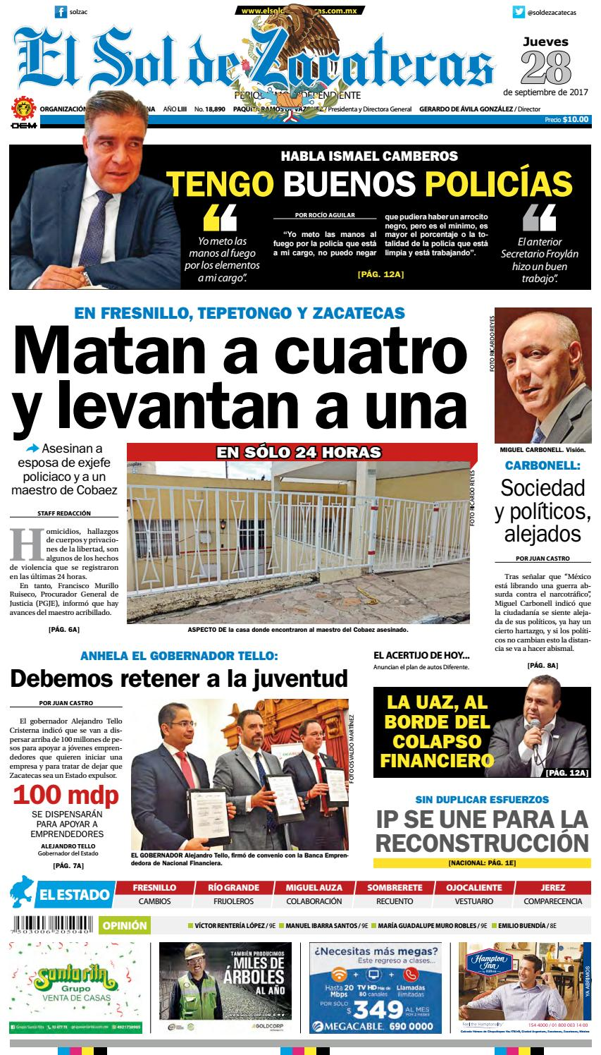 El Sol De Zacatecas 28 De Septiembre 2017 By El Sol De Zacatecas  # Vacantes Muebles Dico Guadalajara